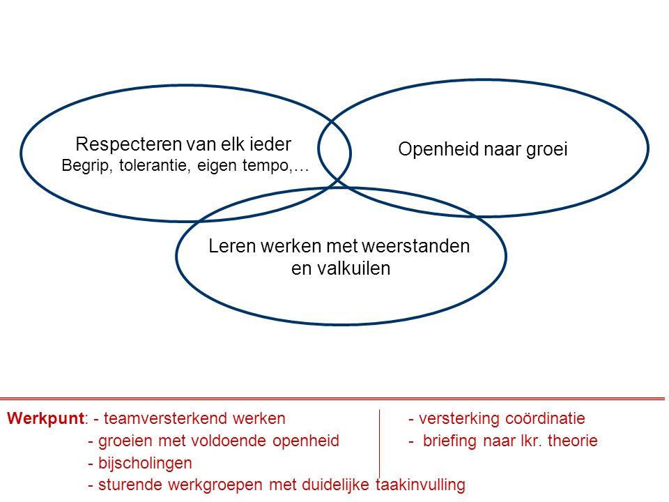 Respecteren van elk ieder Begrip, tolerantie, eigen tempo,… Openheid naar groei Leren werken met weerstanden en valkuilen Werkpunt: - teamversterkend
