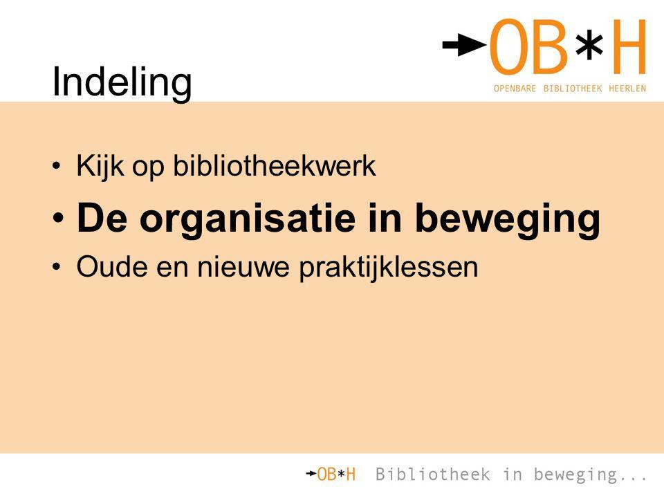 Indeling Kijk op bibliotheekwerk De organisatie in beweging Oude en nieuwe praktijklessen