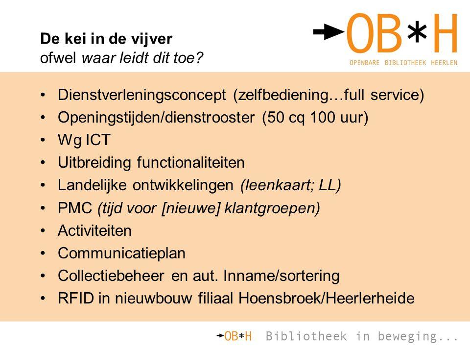 De kei in de vijver ofwel waar leidt dit toe? Dienstverleningsconcept (zelfbediening…full service) Openingstijden/dienstrooster (50 cq 100 uur) Wg ICT