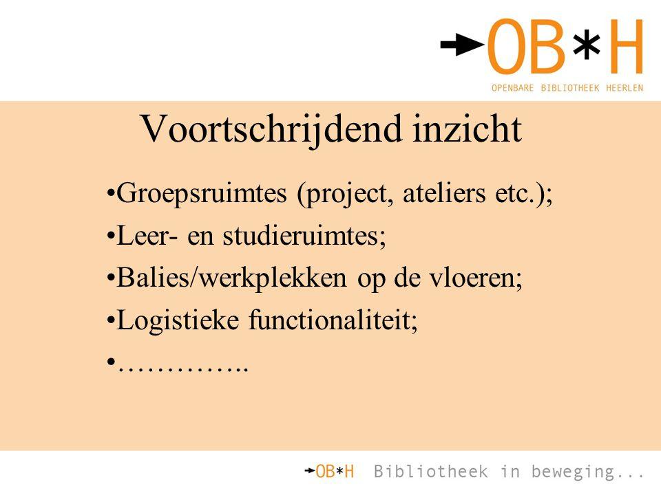 Voortschrijdend inzicht Groepsruimtes (project, ateliers etc.); Leer- en studieruimtes; Balies/werkplekken op de vloeren; Logistieke functionaliteit;