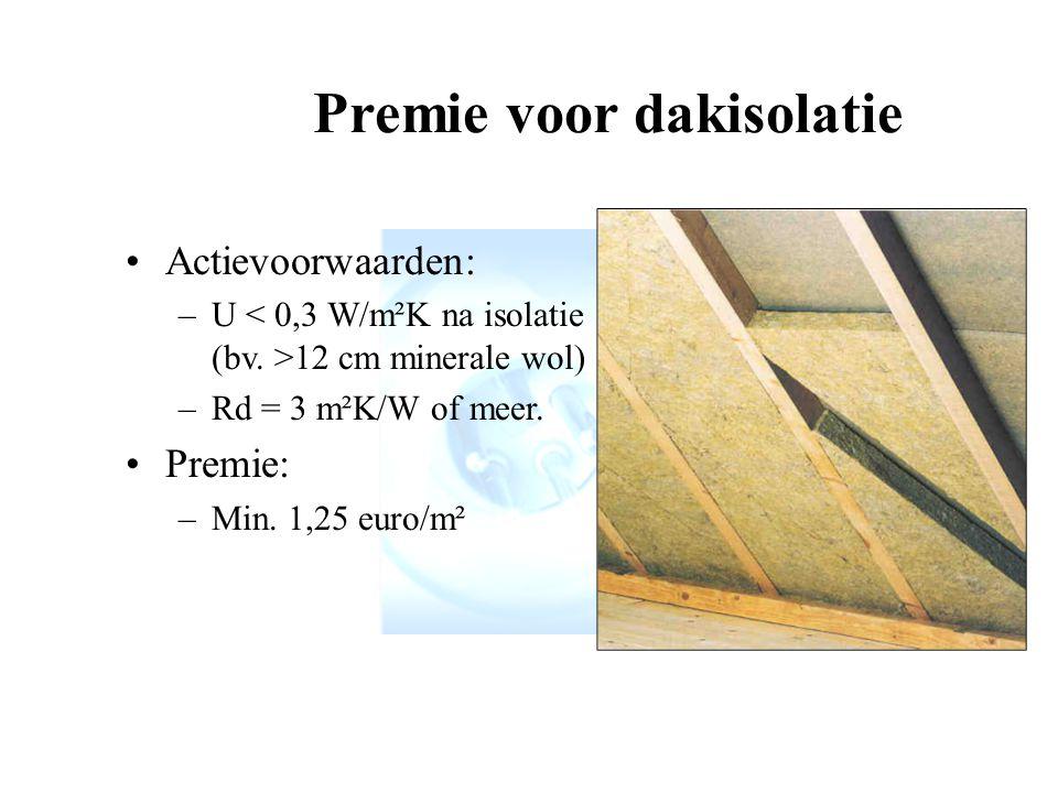 Actievoorwaarden: –U 12 cm minerale wol) –Rd = 3 m²K/W of meer.