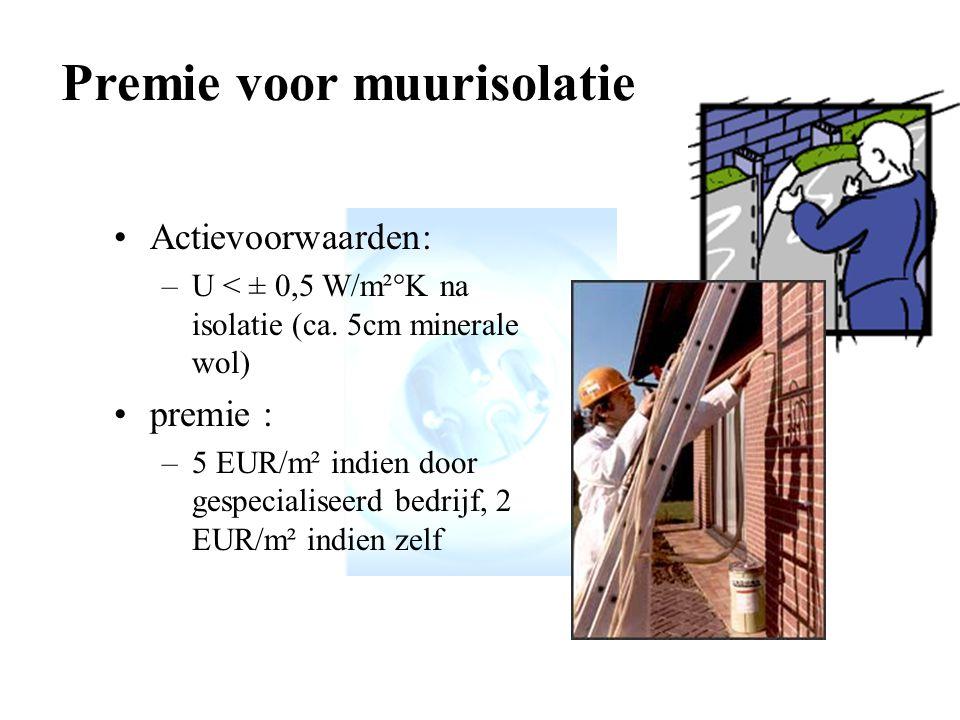 Premie voor muurisolatie Actievoorwaarden: –U < ± 0,5 W/m²°K na isolatie (ca.