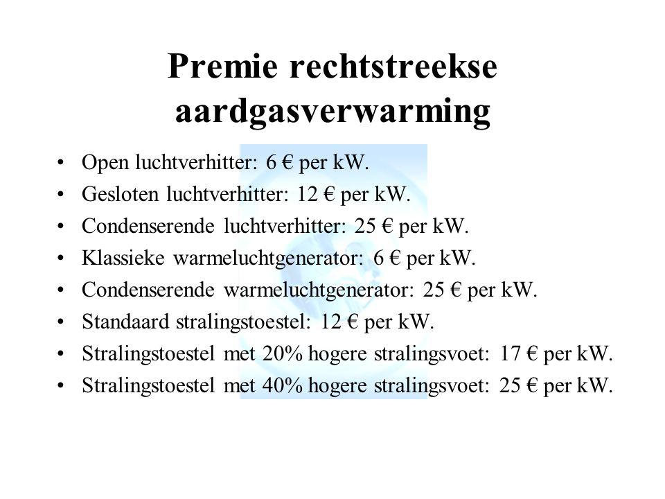 Premie rechtstreekse aardgasverwarming Open luchtverhitter: 6 € per kW.
