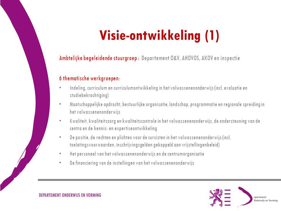 Visie-ontwikkeling (1) Ambtelijke begeleidende stuurgroep : Departement O&V, AHOVOS, AKOV en inspectie 6 thematische werkgroepen: Indeling, curriculum