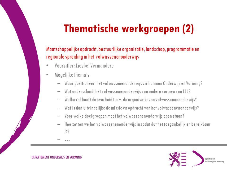 Thematische werkgroepen (2) Maatschappelijke opdracht, bestuurlijke organisatie, landschap, programmatie en regionale spreiding in het volwassenenonde