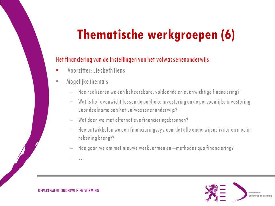 Thematische werkgroepen (6) Het financiering van de instellingen van het volwassenenonderwijs Voorzitter: Liesbeth Hens Mogelijke thema's –Hoe realise