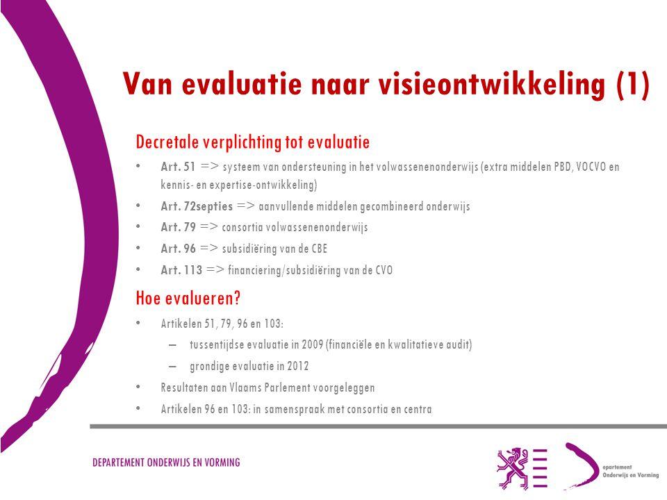 Van evaluatie naar visieontwikkeling (1) Decretale verplichting tot evaluatie Art. 51 => systeem van ondersteuning in het volwassenenonderwijs (extra
