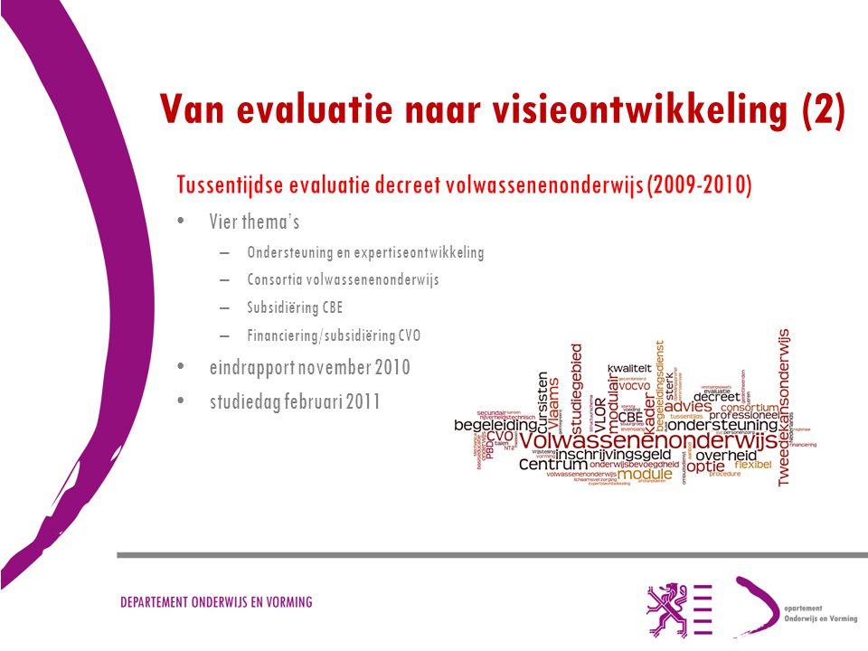 Van evaluatie naar visieontwikkeling (2) Tussentijdse evaluatie decreet volwassenenonderwijs (2009-2010) Vier thema's –Ondersteuning en expertiseontwi