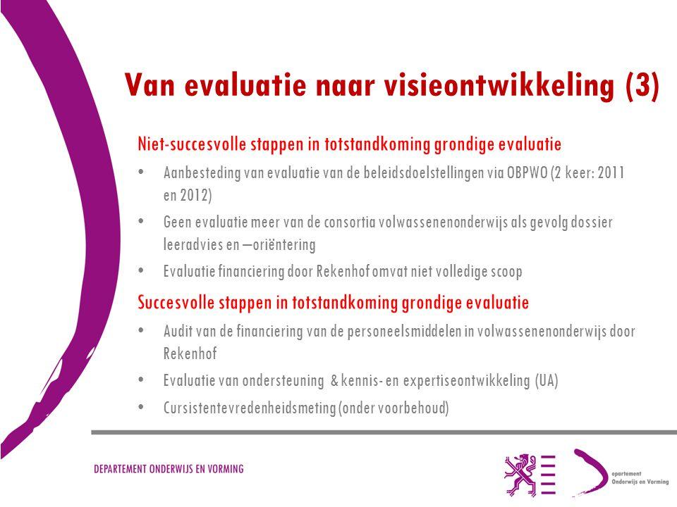 Van evaluatie naar visieontwikkeling (3) Niet-succesvolle stappen in totstandkoming grondige evaluatie Aanbesteding van evaluatie van de beleidsdoelst