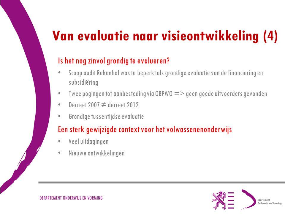 Van evaluatie naar visieontwikkeling (4) Is het nog zinvol grondig te evalueren? Scoop audit Rekenhof was te beperkt als grondige evaluatie van de fin
