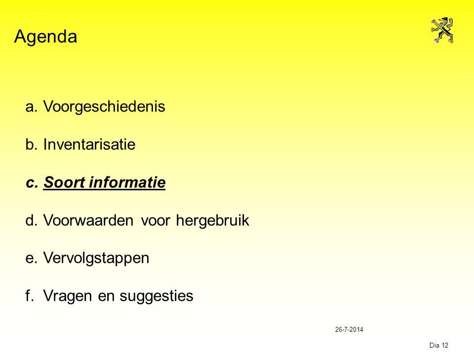 26-7-2014 Dia 12 Agenda a.Voorgeschiedenis b.Inventarisatie c.Soort informatie d.Voorwaarden voor hergebruik e.Vervolgstappen f.Vragen en suggesties