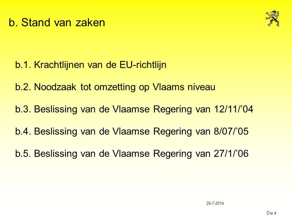 26-7-2014 Dia 4 b. Stand van zaken b.1. Krachtlijnen van de EU-richtlijn b.2. Noodzaak tot omzetting op Vlaams niveau b.3. Beslissing van de Vlaamse R