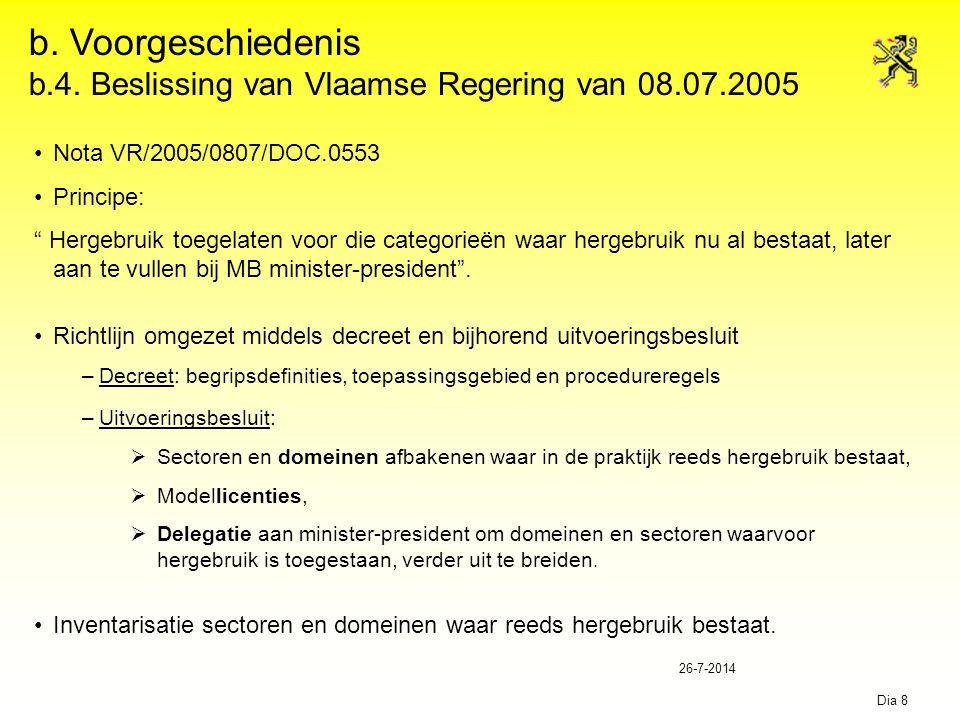 """26-7-2014 Dia 8 b. Voorgeschiedenis b.4. Beslissing van Vlaamse Regering van 08.07.2005 Nota VR/2005/0807/DOC.0553 Principe: """" Hergebruik toegelaten v"""