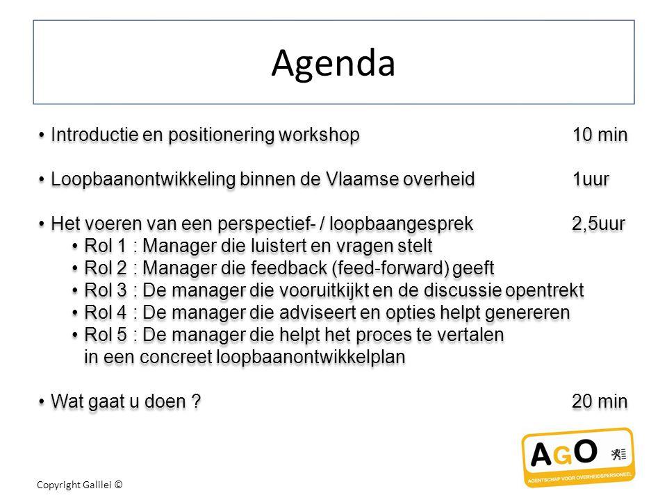 Copyright Galilei © Agenda Introductie en positionering workshop10 min Loopbaanontwikkeling binnen de Vlaamse overheid1uur Het voeren van een perspectief- / loopbaangesprek2,5uur Rol 1 : Manager die luistert en vragen stelt Rol 2 : Manager die feedback (feed-forward) geeft Rol 3 : De manager die vooruitkijkt en de discussie opentrekt Rol 4 : De manager die adviseert en opties helpt genereren Rol 5 : De manager die helpt het proces te vertalen in een concreet loopbaanontwikkelplan Wat gaat u doen ?20 min Introductie en positionering workshop10 min Loopbaanontwikkeling binnen de Vlaamse overheid1uur Het voeren van een perspectief- / loopbaangesprek2,5uur Rol 1 : Manager die luistert en vragen stelt Rol 2 : Manager die feedback (feed-forward) geeft Rol 3 : De manager die vooruitkijkt en de discussie opentrekt Rol 4 : De manager die adviseert en opties helpt genereren Rol 5 : De manager die helpt het proces te vertalen in een concreet loopbaanontwikkelplan Wat gaat u doen ?20 min