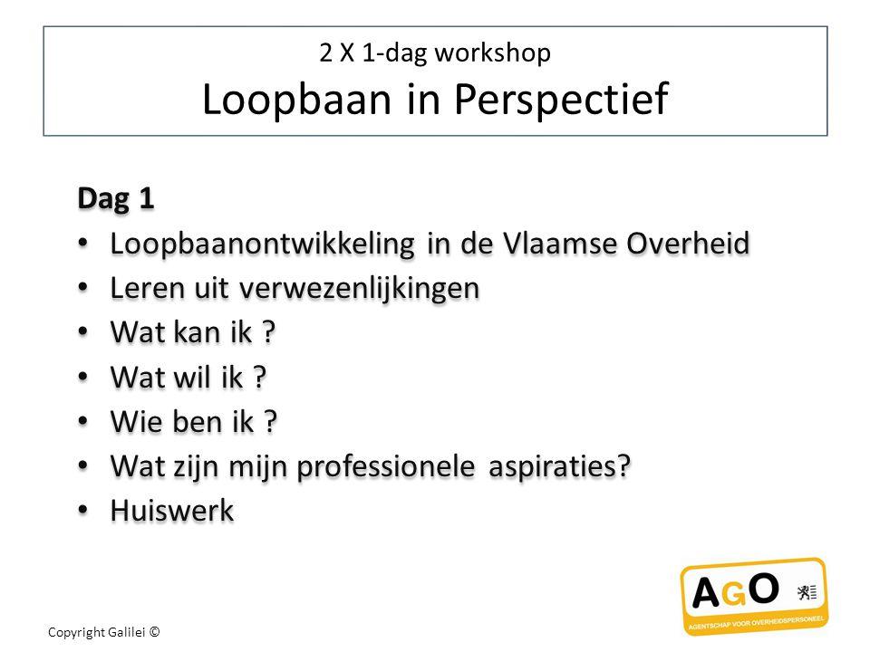 Copyright Galilei © 2 X 1-dag workshop Loopbaan in Perspectief Dag 1 Loopbaanontwikkeling in de Vlaamse Overheid Leren uit verwezenlijkingen Wat kan ik .