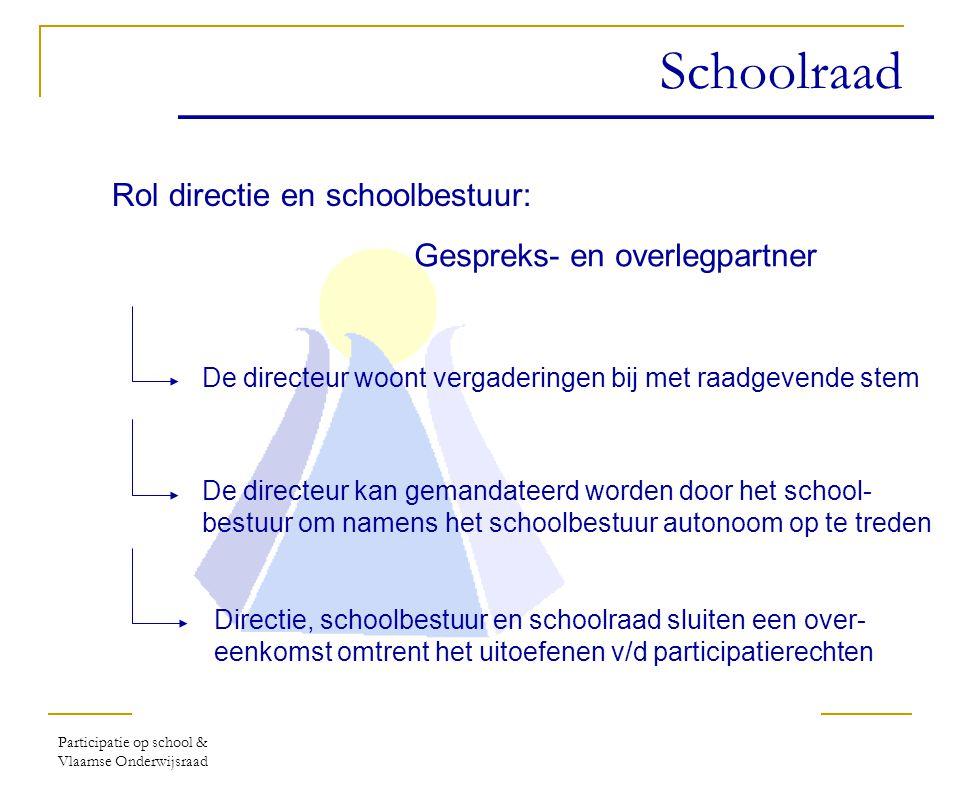 Participatie op school & Vlaamse Onderwijsraad Lokale participatie Door verkiezing Geheim & Stemplicht Door verkiezing Geheim & Stemplicht Door verkiezing Geheim Inwerkingtreding:1 september 2004 Toepassing: Hele leerplichtonderwijs (m.u.