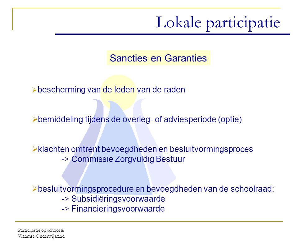 Participatie op school & Vlaamse Onderwijsraad Expertisecentrum Ondersteuning van de lokale participatie Coördinatie van een aanbod aan scholen i.s.m.