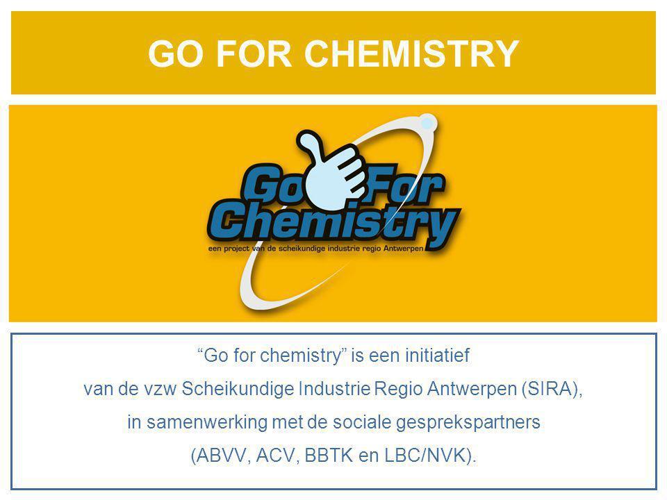 """GO FOR CHEMISTRY """"Go for chemistry"""" is een initiatief van de vzw Scheikundige Industrie Regio Antwerpen (SIRA), in samenwerking met de sociale gesprek"""