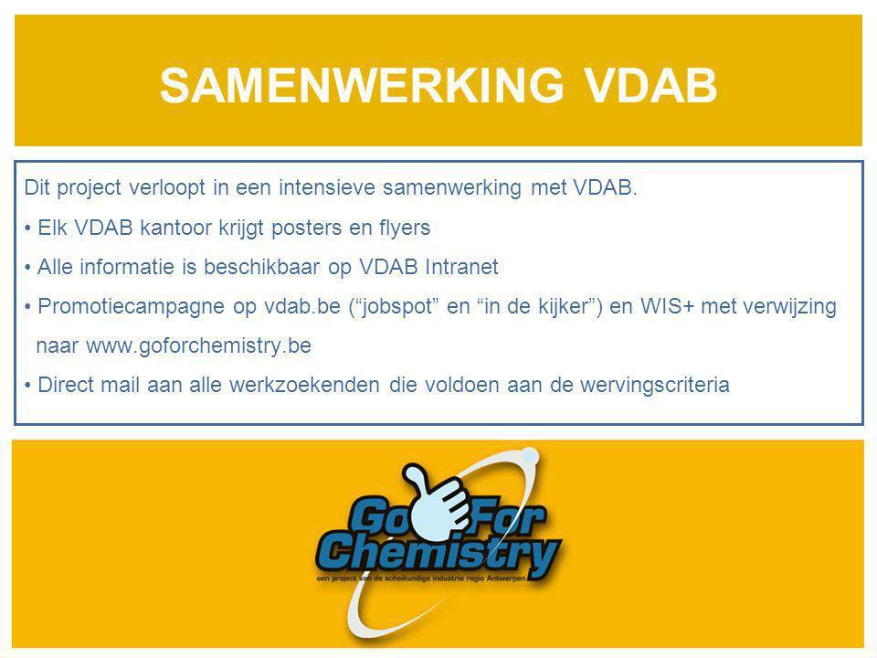 SAMENWERKING VDAB Dit project verloopt in een intensieve samenwerking met VDAB. Elk VDAB kantoor krijgt posters en flyers Alle informatie is beschikba