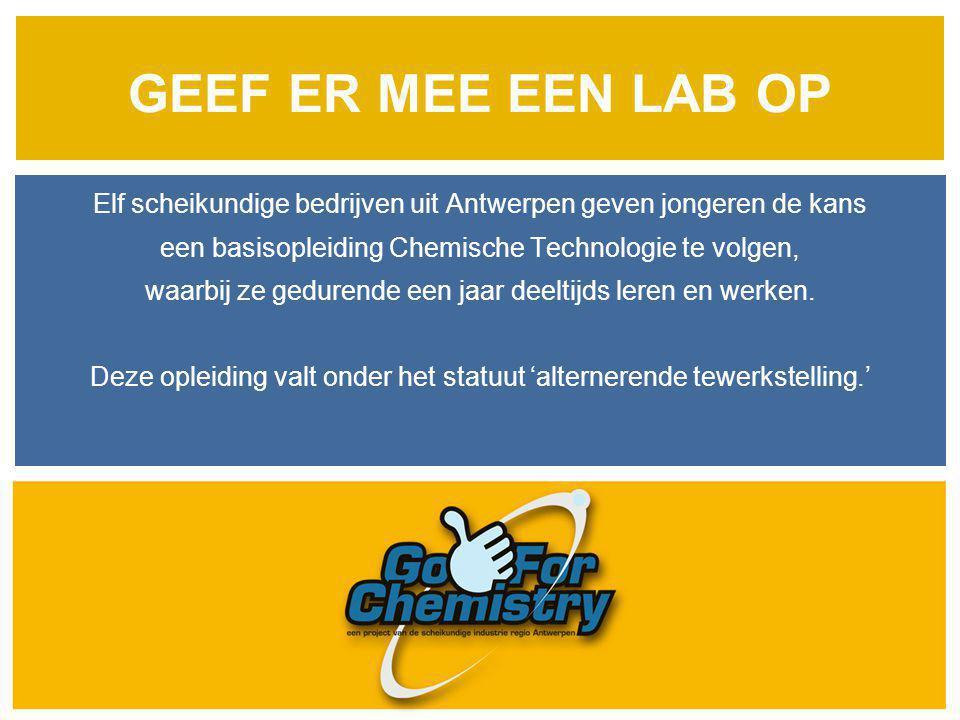 GEEF ER MEE EEN LAB OP Elf scheikundige bedrijven uit Antwerpen geven jongeren de kans een basisopleiding Chemische Technologie te volgen, waarbij ze