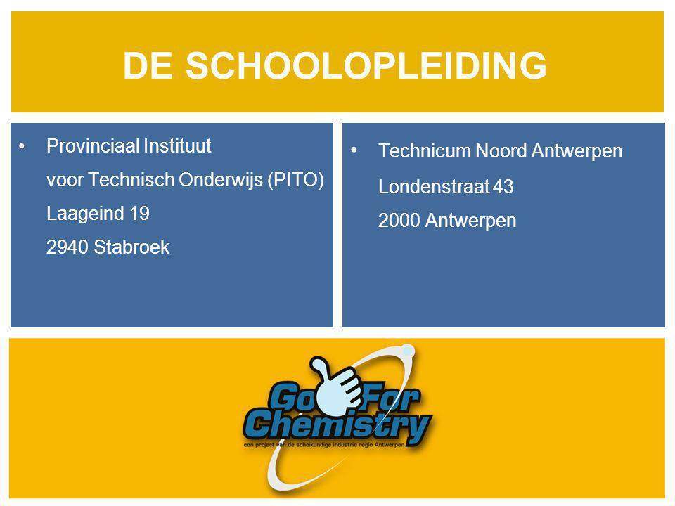 DE SCHOOLOPLEIDING Provinciaal Instituut voor Technisch Onderwijs (PITO) Laageind 19 2940 Stabroek Technicum Noord Antwerpen Londenstraat 43 2000 Antw
