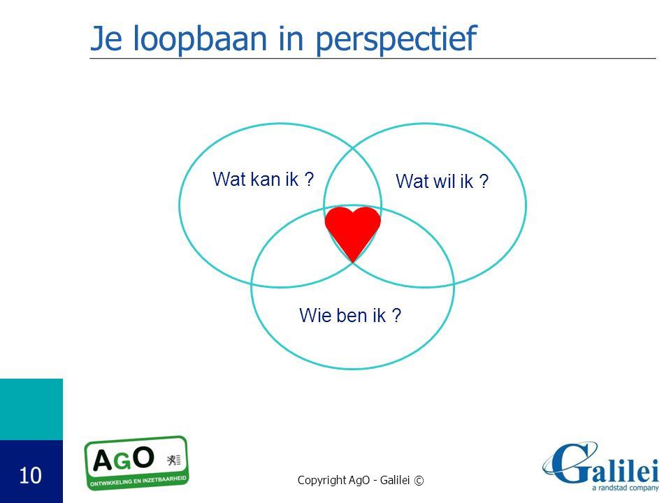 Copyright AgO - Galilei © 10 Je loopbaan in perspectief Wat kan ik ? Wat wil ik ? Wie ben ik ?