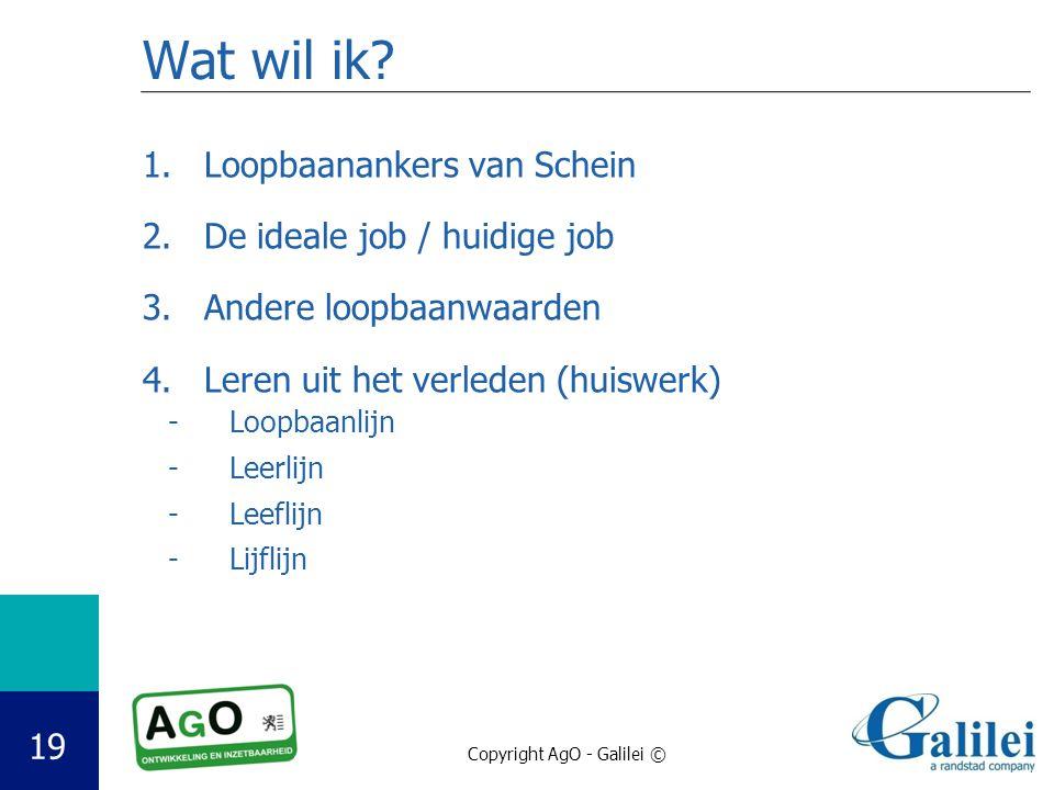 Copyright AgO - Galilei © 19 Wat wil ik? 1.Loopbaanankers van Schein 2.De ideale job / huidige job 3.Andere loopbaanwaarden 4.Leren uit het verleden (