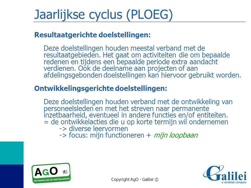 Copyright AgO - Galilei © Jaarlijkse cyclus (PLOEG) Resultaatgerichte doelstellingen: Deze doelstellingen houden meestal verband met de resultaatgebie