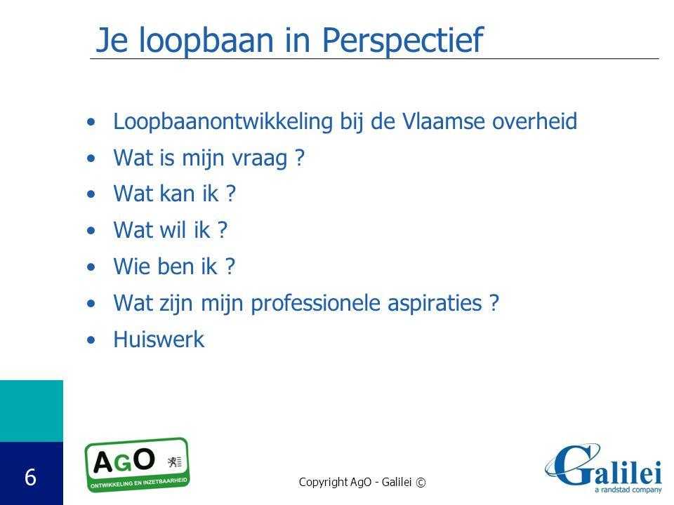 Copyright AgO - Galilei © 6 Je loopbaan in Perspectief Loopbaanontwikkeling bij de Vlaamse overheid Wat is mijn vraag ? Wat kan ik ? Wat wil ik ? Wie