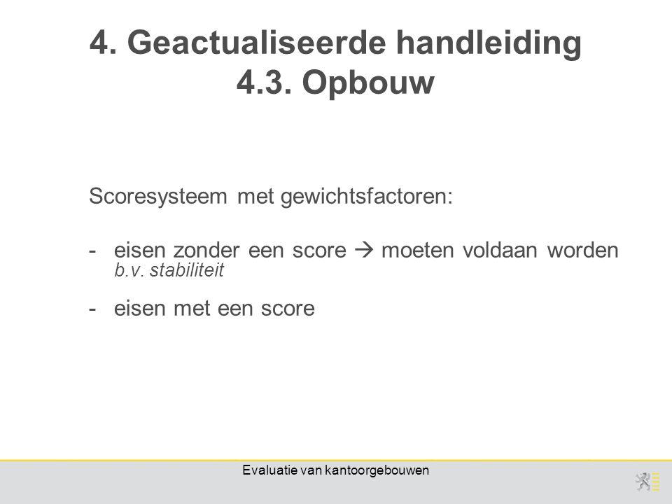 Evaluatie van kantoorgebouwen Scoresysteem met gewichtsfactoren: -eisen zonder een score  moeten voldaan worden b.v.