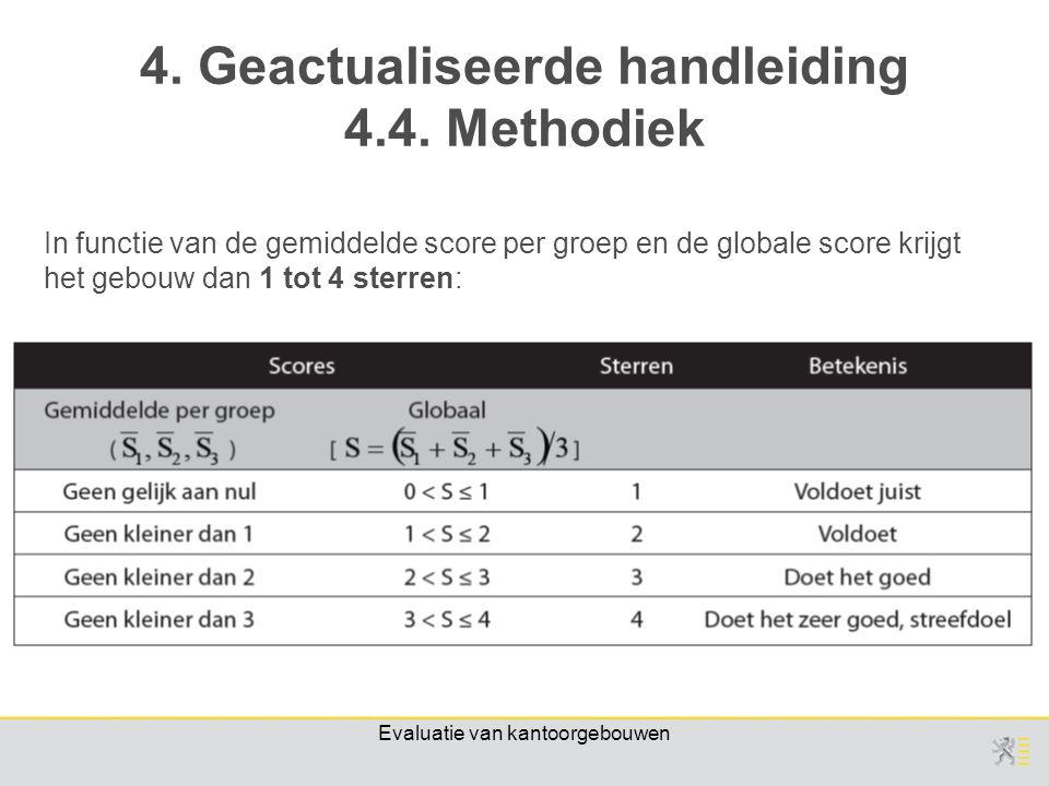 Evaluatie van kantoorgebouwen In functie van de gemiddelde score per groep en de globale score krijgt het gebouw dan 1 tot 4 sterren: 4.