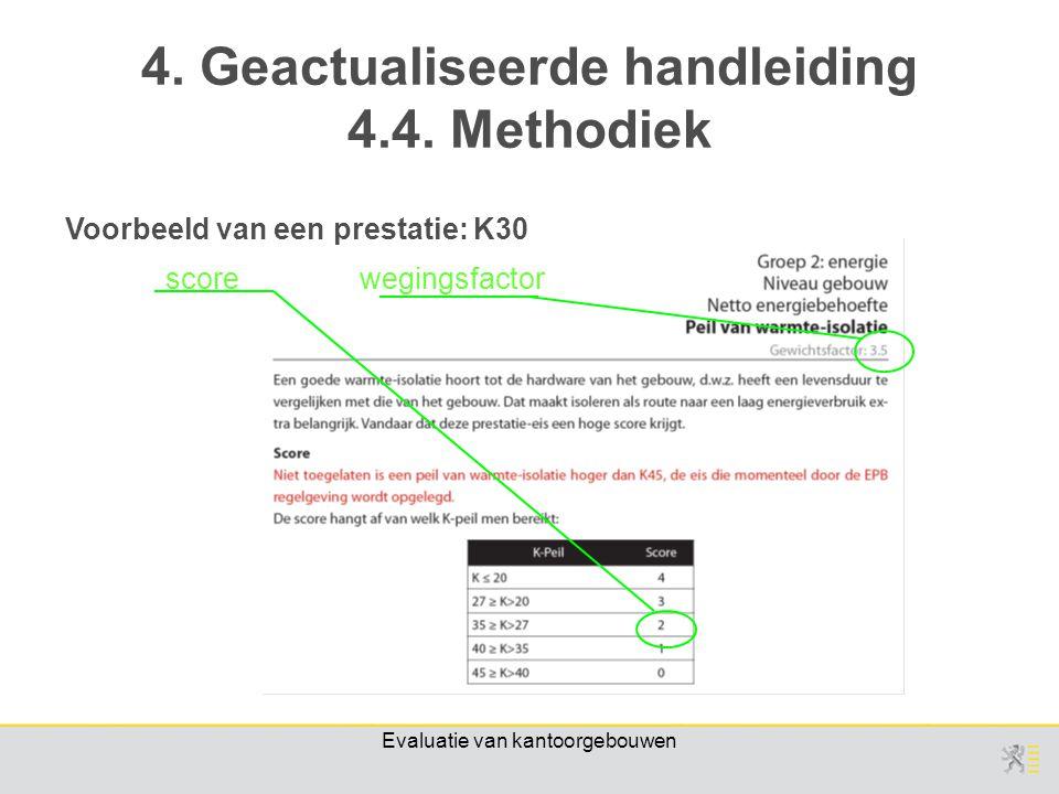 Evaluatie van kantoorgebouwen wegingsfactorscore Voorbeeld van een prestatie: K30 4.