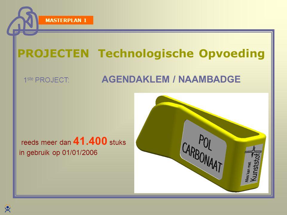 PROJECTEN Technologische Opvoeding reeds meer dan 41.400 stuks in gebruik op 01/01/2006 1 ste PROJECT: AGENDAKLEM / NAAMBADGE MASTERPLAN 1