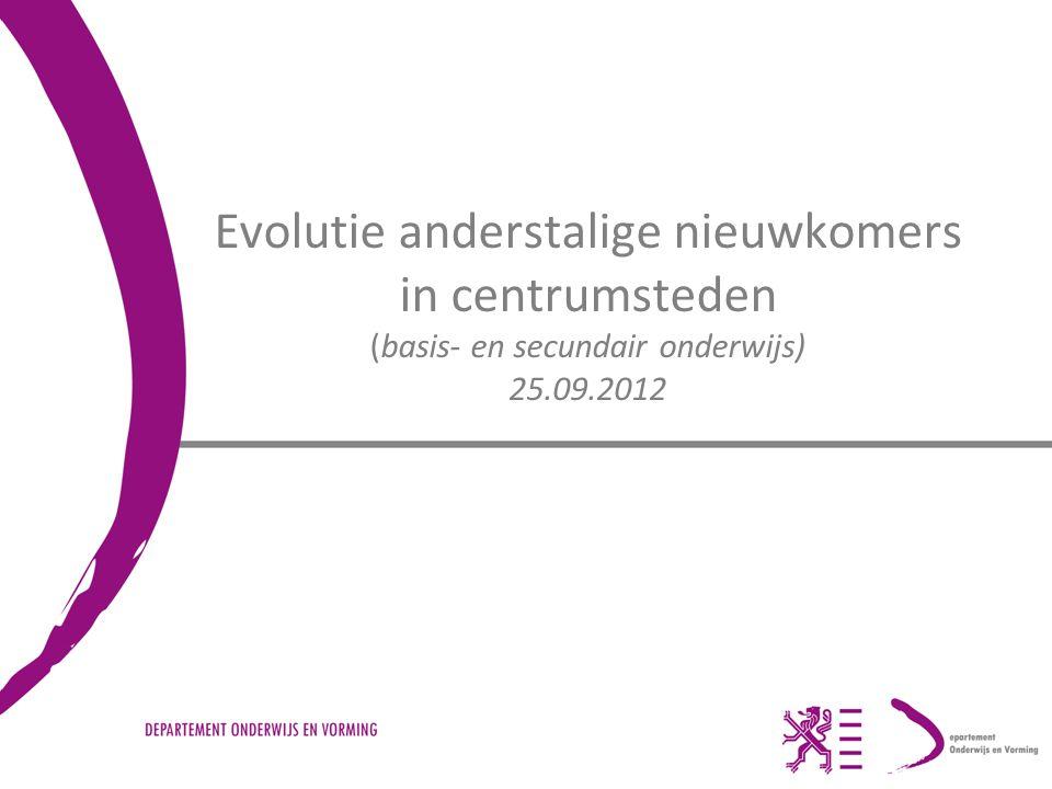 Evolutie anderstalige nieuwkomers in centrumsteden (basis- en secundair onderwijs) 25.09.2012
