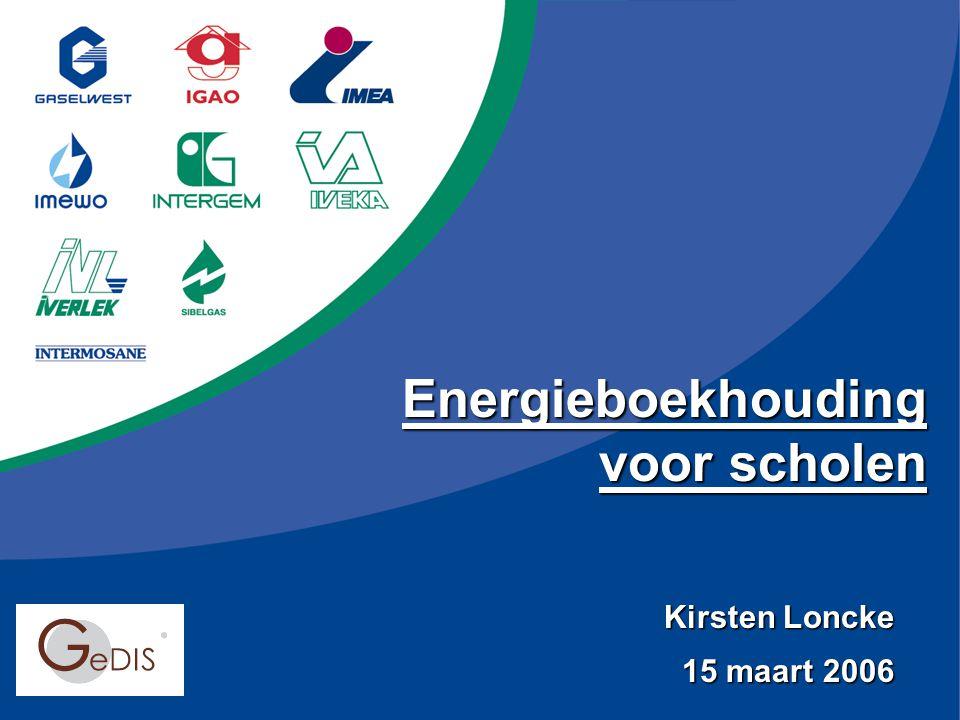 Kirsten Loncke 15 maart 2006 Energieboekhouding voor scholen
