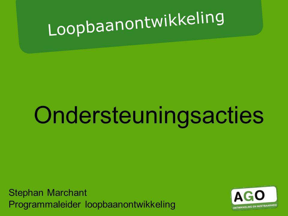 Ondersteuningsacties Loopbaanontwikkeling Stephan Marchant Programmaleider loopbaanontwikkeling