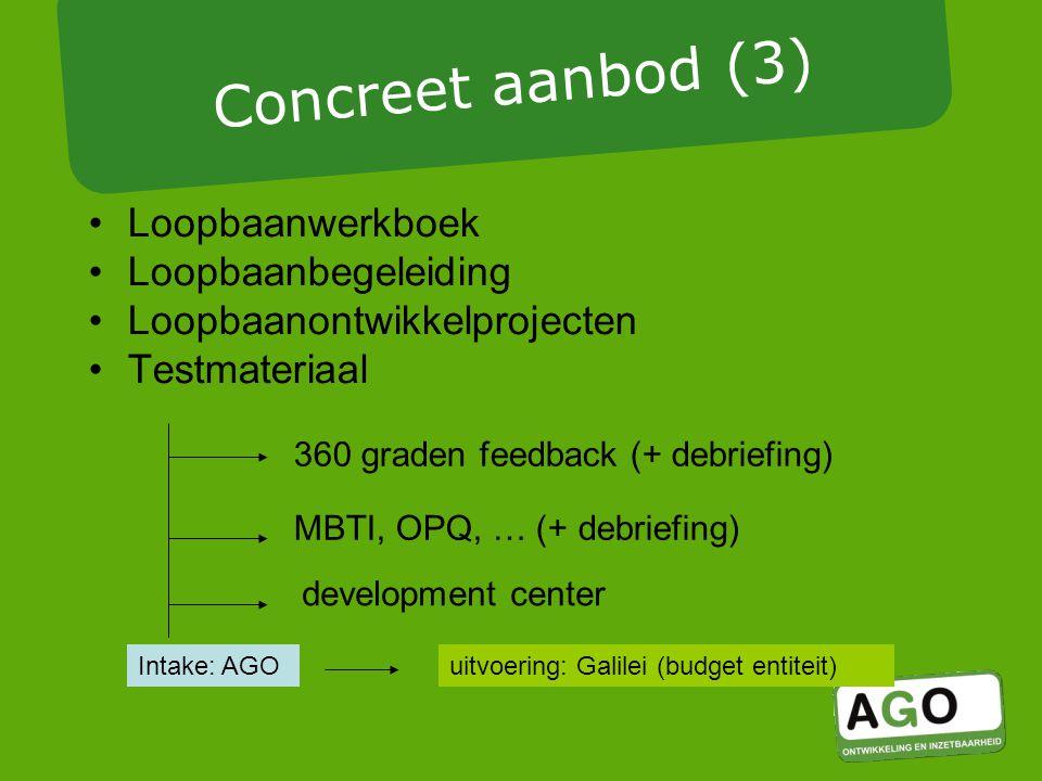 Loopbaanwerkboek Loopbaanbegeleiding Loopbaanontwikkelprojecten Testmateriaal development center MBTI, OPQ, … (+ debriefing) Intake: AGOuitvoering: Galilei (budget entiteit) Concreet aanbod (3) 360 graden feedback (+ debriefing)
