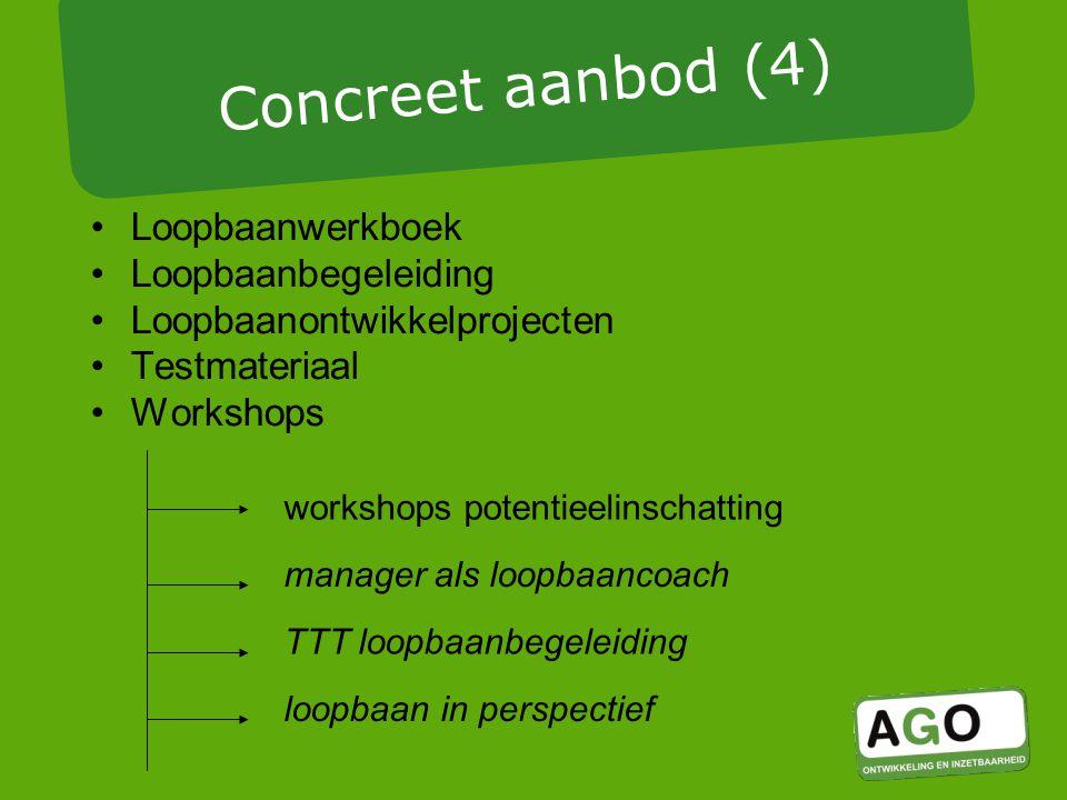 Loopbaanwerkboek Loopbaanbegeleiding Loopbaanontwikkelprojecten Testmateriaal Workshops Concreet aanbod (4) loopbaan in perspectief manager als loopbaancoach workshops potentieelinschatting TTT loopbaanbegeleiding