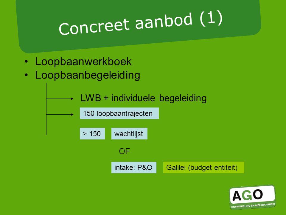 Loopbaanwerkboek LWB + individuele begeleiding 150 loopbaantrajecten > 150 Galilei (budget entiteit) Concreet aanbod (1) intake: P&O wachtlijst OF Loopbaanbegeleiding