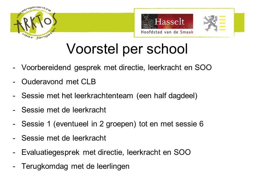 Voorstel per school -Voorbereidend gesprek met directie, leerkracht en SOO -Ouderavond met CLB -Sessie met het leerkrachtenteam (een half dagdeel) -Se