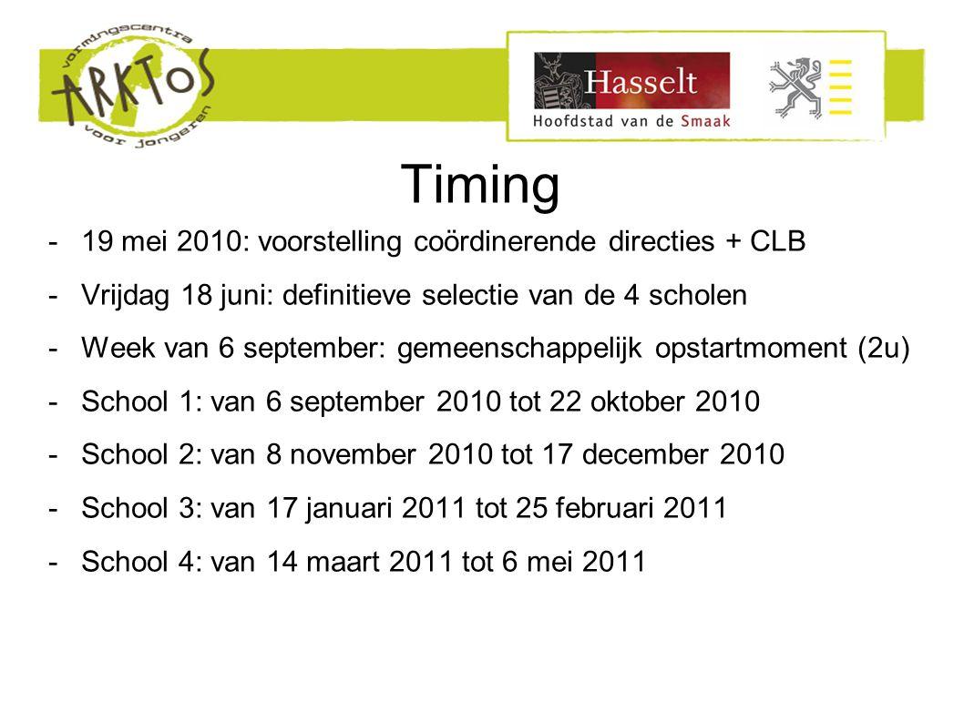 Timing -19 mei 2010: voorstelling coördinerende directies + CLB -Vrijdag 18 juni: definitieve selectie van de 4 scholen -Week van 6 september: gemeenschappelijk opstartmoment (2u) -School 1: van 6 september 2010 tot 22 oktober 2010 -School 2: van 8 november 2010 tot 17 december 2010 -School 3: van 17 januari 2011 tot 25 februari 2011 -School 4: van 14 maart 2011 tot 6 mei 2011