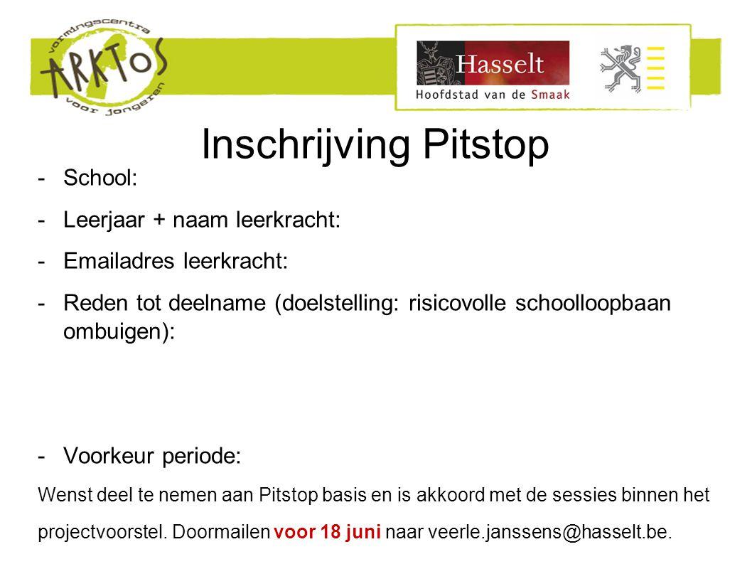 Inschrijving Pitstop -School: -Leerjaar + naam leerkracht: -Emailadres leerkracht: -Reden tot deelname (doelstelling: risicovolle schoolloopbaan ombui
