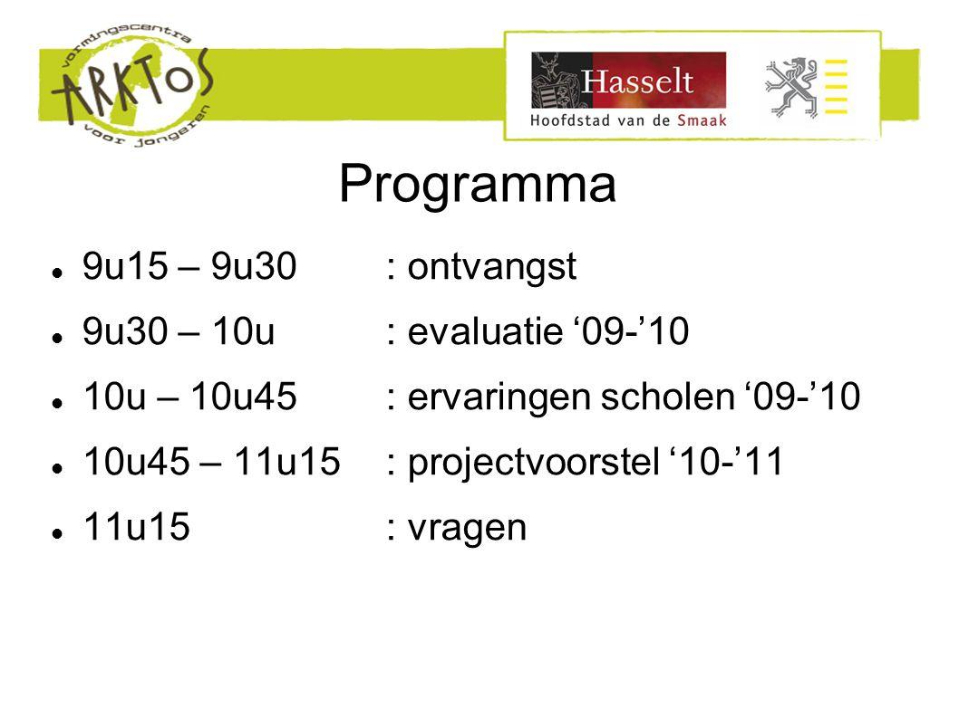 Programma 9u15 – 9u30: ontvangst 9u30 – 10u: evaluatie '09-'10 10u – 10u45: ervaringen scholen '09-'10 10u45 – 11u15: projectvoorstel '10-'11 11u15: vragen
