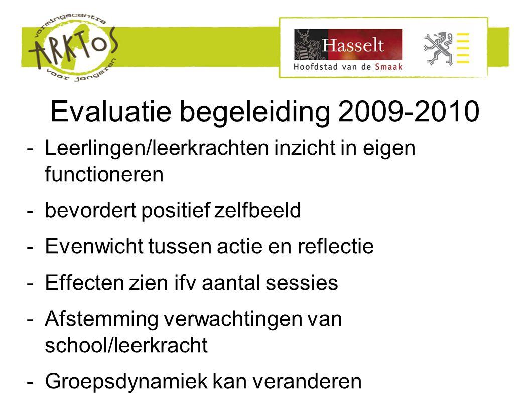Evaluatie begeleiding 2009-2010 -Leerlingen/leerkrachten inzicht in eigen functioneren -bevordert positief zelfbeeld -Evenwicht tussen actie en reflectie -Effecten zien ifv aantal sessies -Afstemming verwachtingen van school/leerkracht -Groepsdynamiek kan veranderen