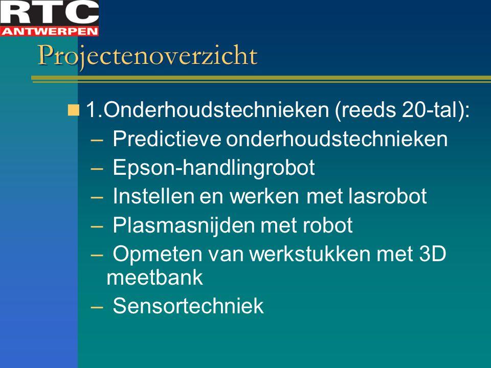 Projectenoverzicht 1.Onderhoudstechnieken (reeds 20-tal): – Predictieve onderhoudstechnieken – Epson-handlingrobot – Instellen en werken met lasrobot – Plasmasnijden met robot – Opmeten van werkstukken met 3D meetbank – Sensortechniek