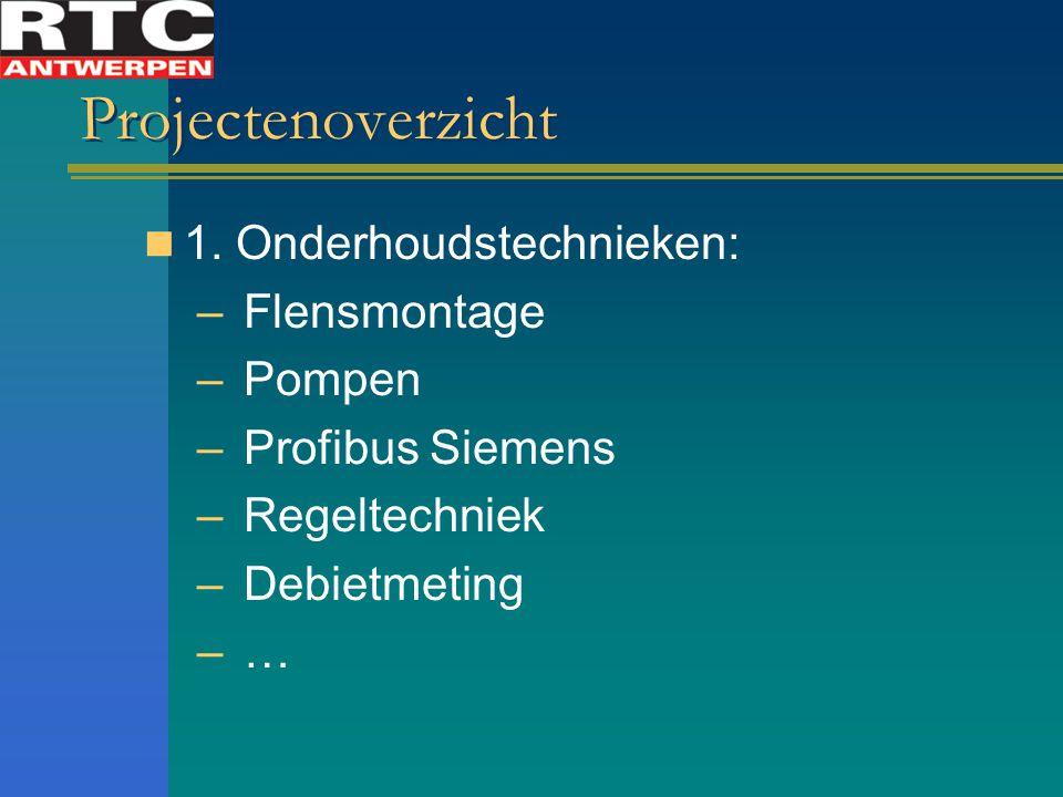 Projectenoverzicht 1. Onderhoudstechnieken: – Flensmontage – Pompen – Profibus Siemens – Regeltechniek – Debietmeting – …