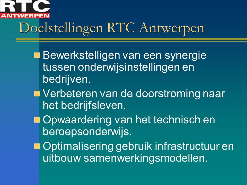 Doelstellingen RTC Antwerpen Bewerkstelligen van een synergie tussen onderwijsinstellingen en bedrijven. Verbeteren van de doorstroming naar het bedri