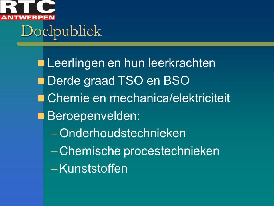 Doelpubliek Leerlingen en hun leerkrachten Derde graad TSO en BSO Chemie en mechanica/elektriciteit Beroepenvelden: –Onderhoudstechnieken –Chemische procestechnieken –Kunststoffen