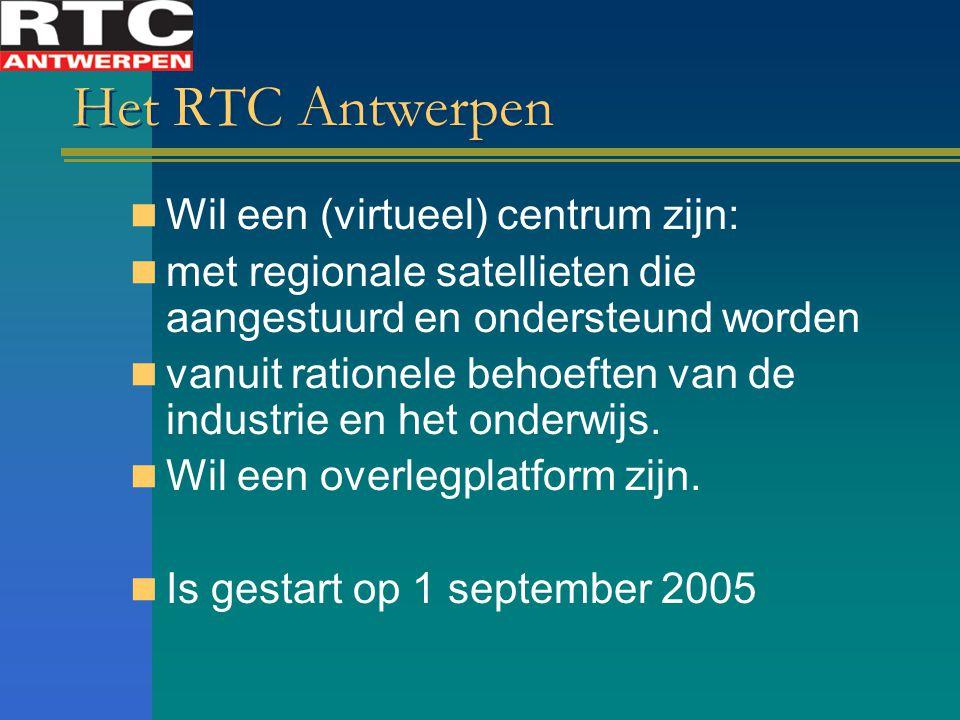 Het RTC Antwerpen Wil een (virtueel) centrum zijn: met regionale satellieten die aangestuurd en ondersteund worden vanuit rationele behoeften van de industrie en het onderwijs.