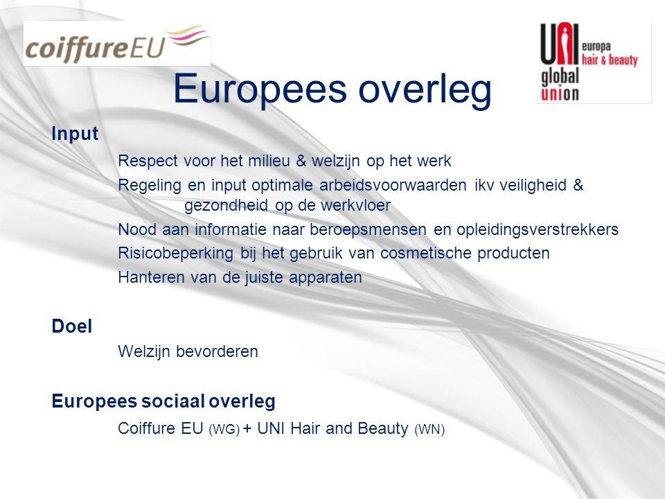 Europees overleg Input Respect voor het milieu & welzijn op het werk Regeling en input optimale arbeidsvoorwaarden ikv veiligheid & gezondheid op de w